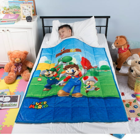 "Super Mario Kids Weighted Blanket, Super Soft Plush Bedding, 36"" x 48? 4.5lbs, Blue"