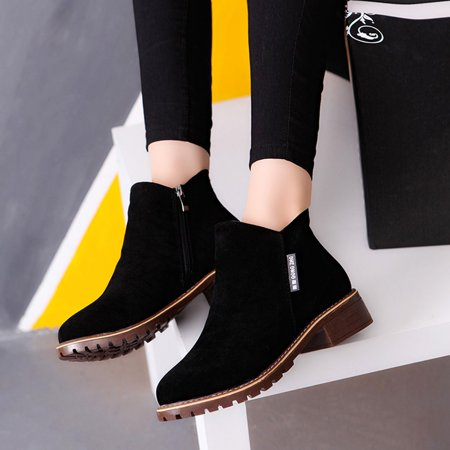 Women Ankle Boots Short Martin Boots Chunky Heels Boots Female Fashion Shoes - image 6 of 10