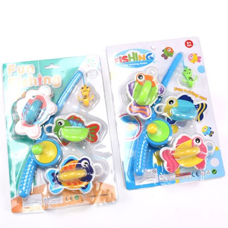 Fishing Playset with 3 Fishes and 1 Pole Funtime Fishing Toys Rod and Reel Fishing Game Bath Toy Set for Kids Specification:Random color - Toy Fishing Pole