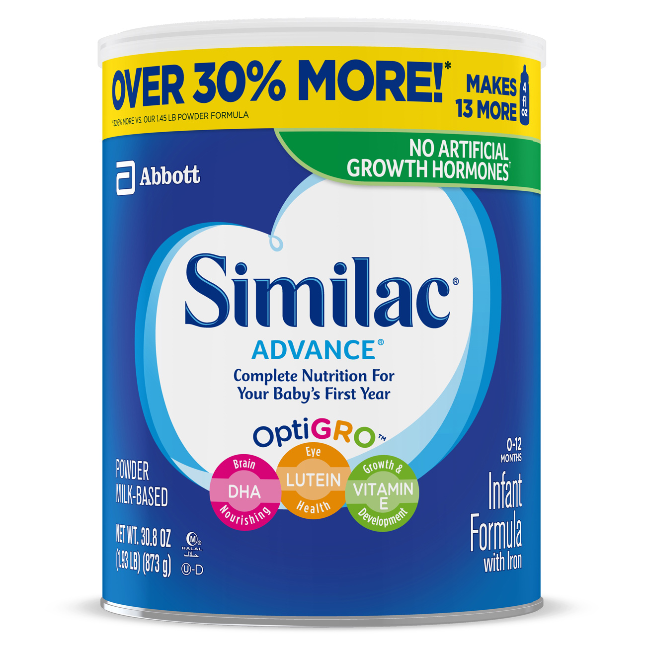Similac Advance Infant Formula with Iron, Powder, 1.93 lbs (Pack of 6)