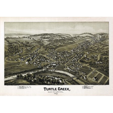 Antique Map Of Turtle Creek Pennsylvania 1897 Allegheny County Canvas Art     24 X 36