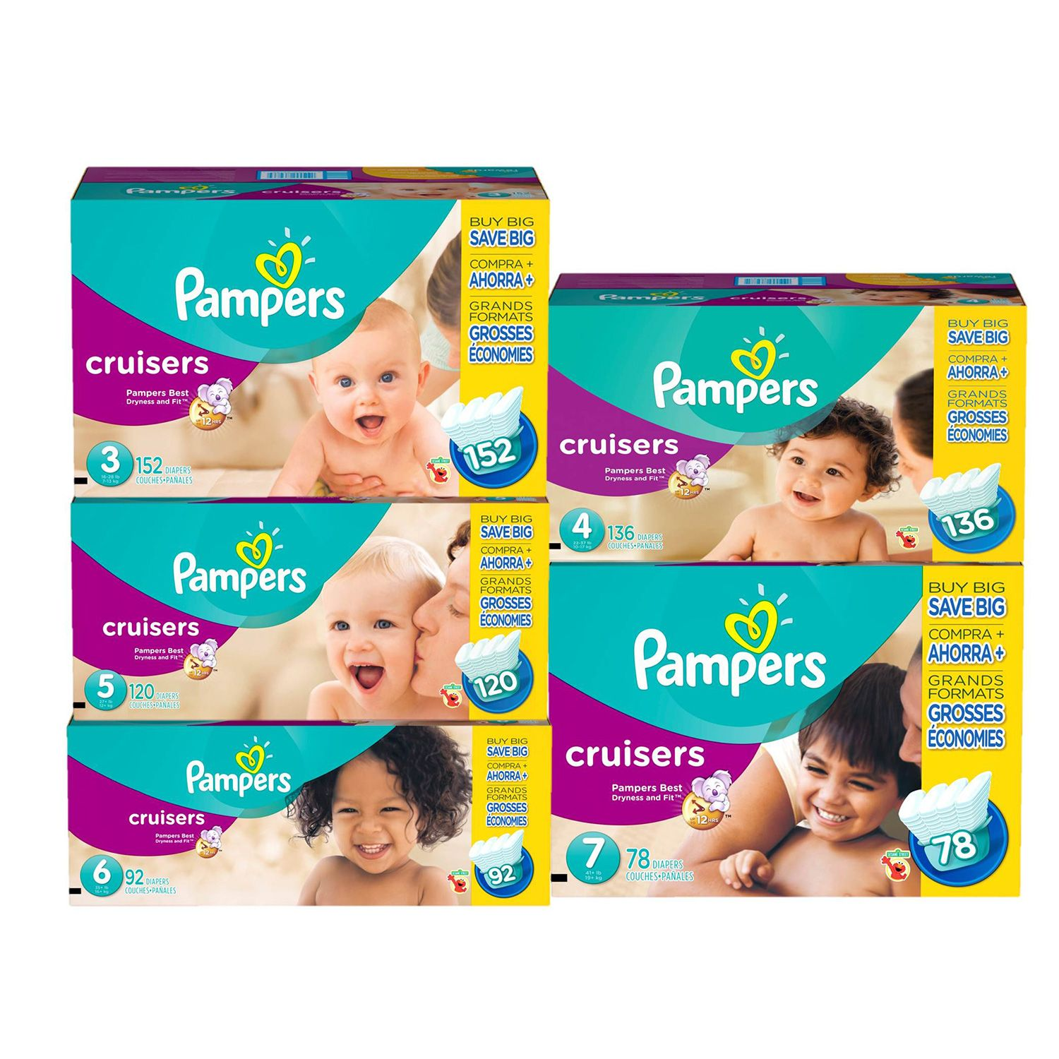 Pampers Cruisers Diapers, Size 6 (35+ lbs.), 92 ct.