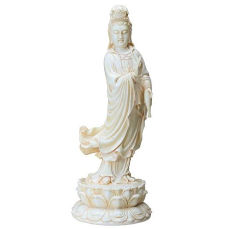 Seated Kuan Yin Statue - 13 Inch Cream Toned Cold Cast Resin