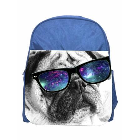 Hipster Pug  Girls Blue Preschool Toddler Children's Backpack & Lunch Box - Preschool Halloween Lunch Ideas