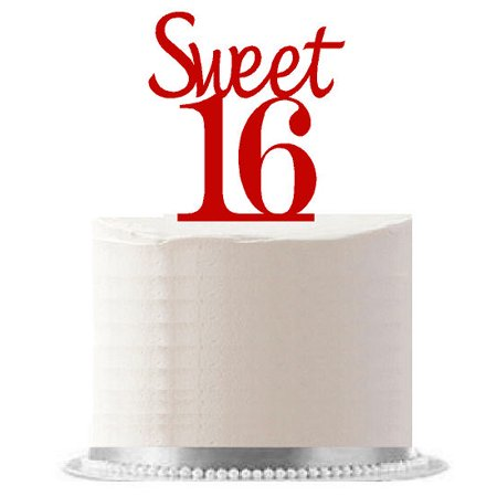 Sweet 16 Red Birthday Party Elegant Cake Decoration Topper](Sweet 16 Cake Topper)
