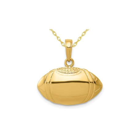 - 14K Yellow Gold Classic Football Charm Pendant Necklace with Chain