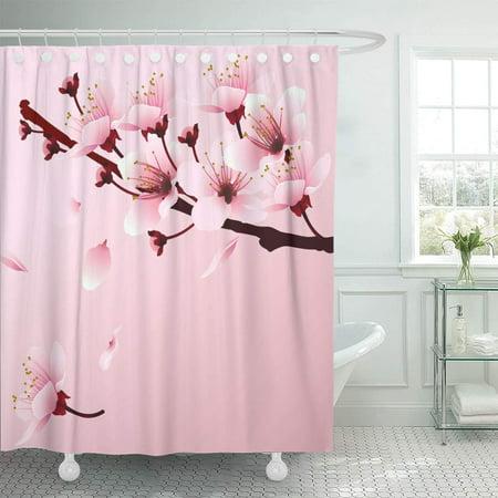 KSADK Artistic Cherry Blossom Sakura Branch with Pink Flowers Romantic of Springtime Bathroom Shower Curtain 60x72 - Shower Of Flowers