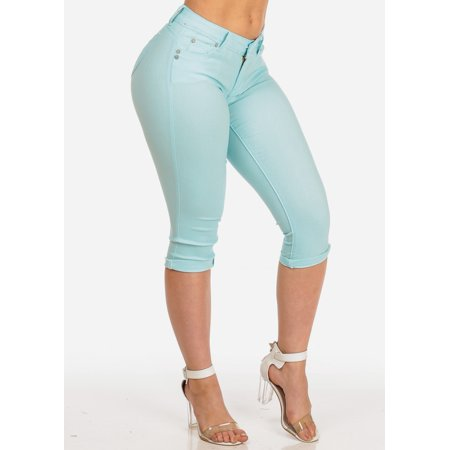 Womens Juniors Women's Junior Summer Stretchy Solid Color Super Stretchy Trendy Low Rise Sky Blue Booty Lifting Levanta Cola Cuffed Uncuffed Capris 10960W