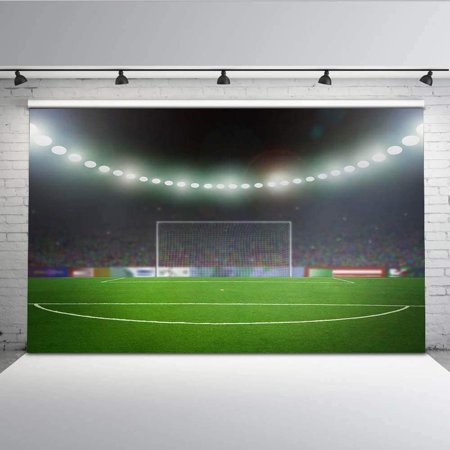 ABPHOTO Polyester 7x5ft Backdrop Football Field Goal Green Grass Cheering Audience and Spotlight Backdrop for Studio