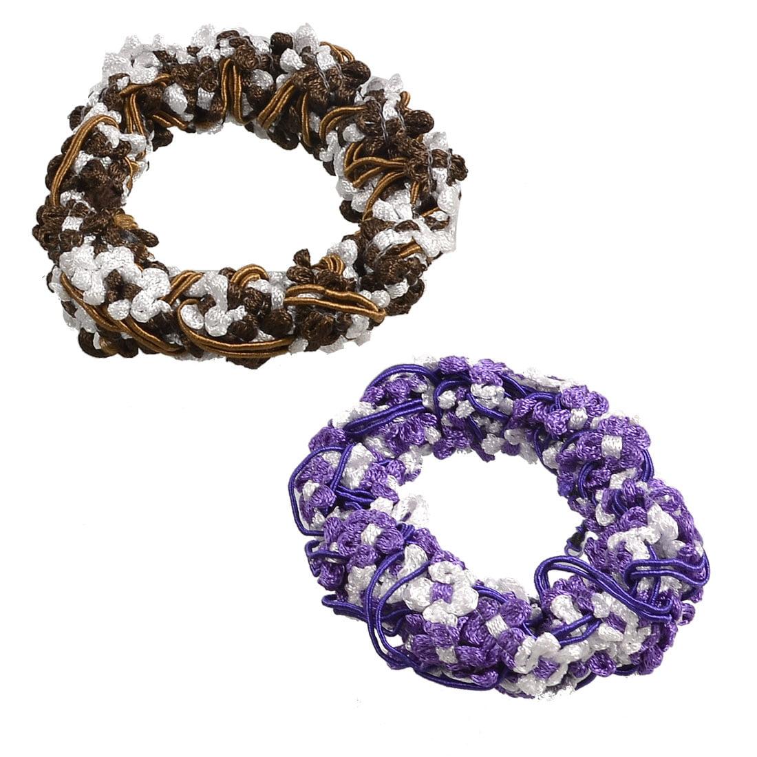 Unique Bargains 2 Pcs Stretchy Fabric Hair Ties Bands Ponytail Braid Holder Elastics Purple Brown