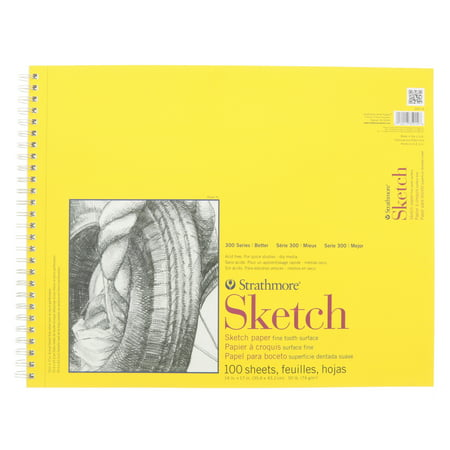 Strathmore Sketch Paper Pad, 300 Series, Spiral-Bound, 14in x 17in, 100 Sheets