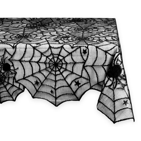 DII 54x72 Rectangular Polyester Lace Thlecloth, Black Spider Web - Perfect for Halloween, Dinner Parties and Scary Movie Nights