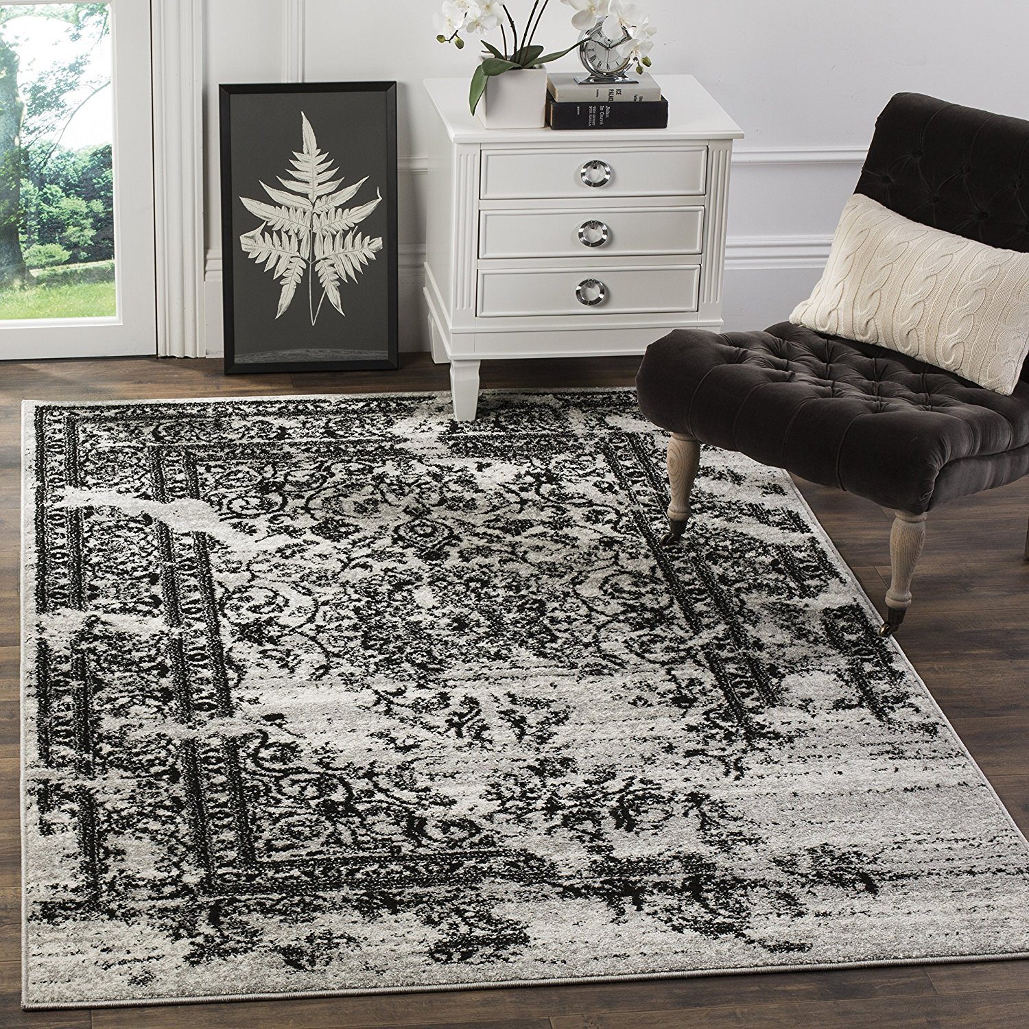 Adirondack Collection Adr101a Silver And Black Oriental Vintage Distressed Area Rug 3 X 5 Vintage Distressed Design Adds A Fashion Forward Flair To By Safavieh Ship From Us Walmart Com Walmart Com