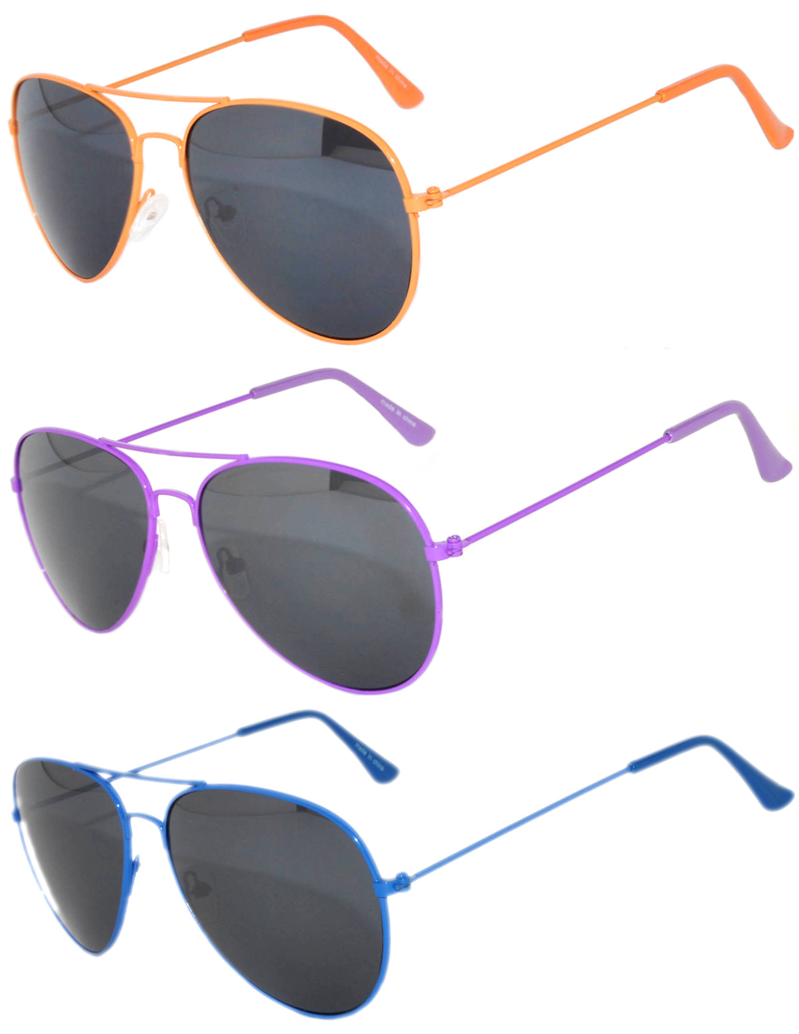 Aviator Style Sunglasses Colored Metal Frame Spring Hinges OWL (3 Pack)