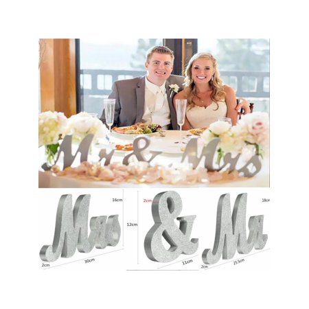 Large Silver Mr & Mrs Sign, MR MRS Wooden Letters, Wedding Engagement, Valentine's Day Sweet Table Docoration (Mr & Mrs Signs)