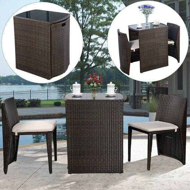 Costway Wicker 3-Piece Small Space Outdoor Bistro Set with Cushions, Brown