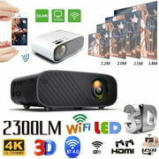 2300LM 4-Inch LCD TFT Display Lumens LCD Screen Projector Mini WIFI Mobile Phone 3D 1080P HD Home Theater Video Projector Portable Black With WIFI Same Screen