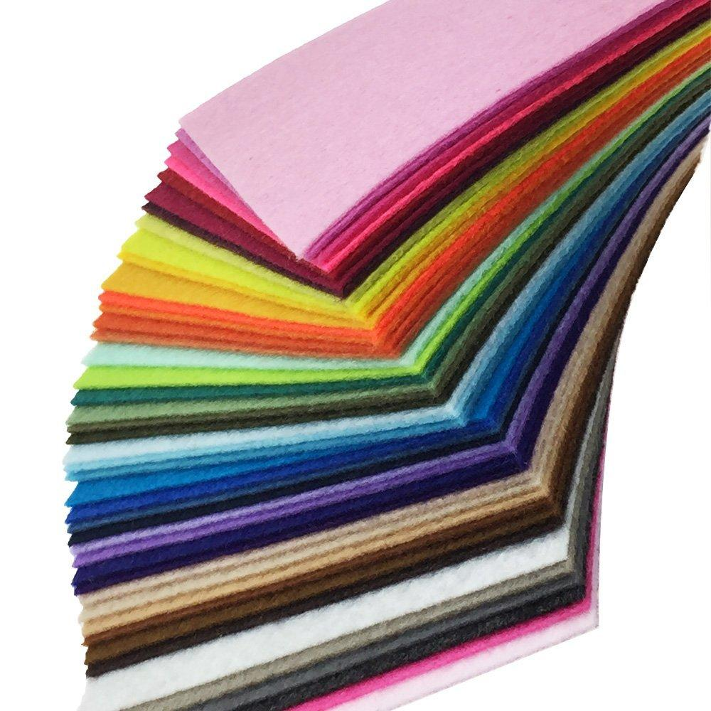 Assorted Color Felt Fabric Sheets Patchwork Sewing DIY Craft 1mm Thick 10 x10cm flic-flac 44PCS 4 x 4 inches