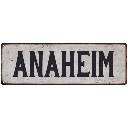 ANAHEIM Vintage Look Rustic Metal City State Sign 6 x 18 High Gloss Metal 206180041098](Anaheim City)