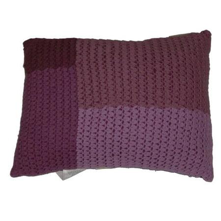 Contemporary Home Purple Crochet Throw Pillow Lavender Accent Cushion
