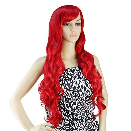 AGPtek 32 inch Heat Resistant Curly Wavy Long Cosplay Wigs - Bright Red (Curly Red Wigs)