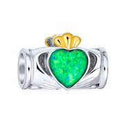Green Created Opal Couples BFF Heart Crown Irish Claddagh Charm Bead for Women for Teen Two Tone .925 Sterling Silver Fits European Bracelet
