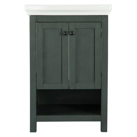 Foremost hagos2417 hanley 22 vanity and vitreous china for Charcoal grey bathroom accessories