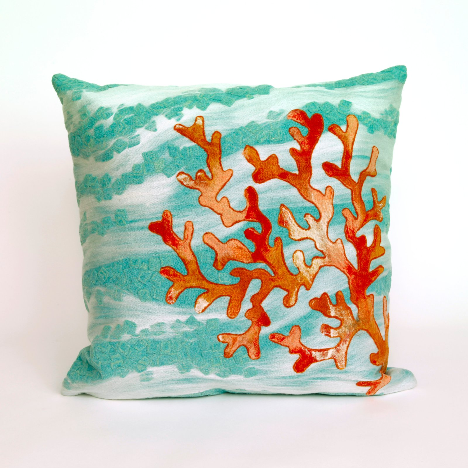 Liora Manne Coral Wave Indoor / Outdoor Throw Pillow
