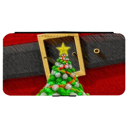 Santa Clause and A Christmas Tree Apple iPhone 7 Plus (5.5 inch) Leather Flip Phone Case