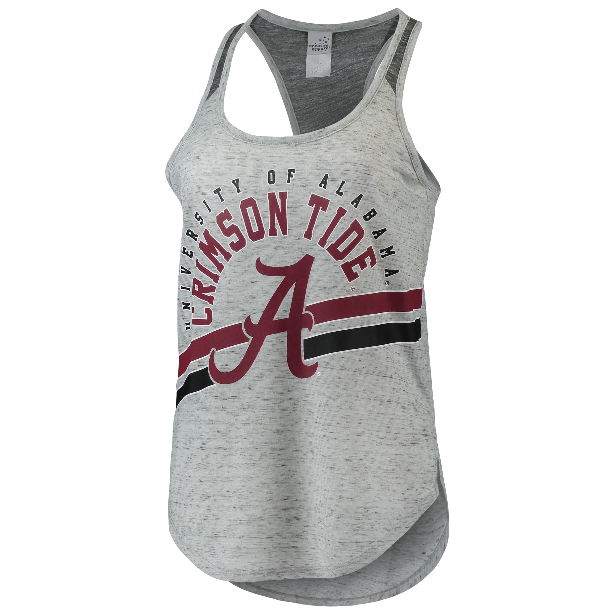 Women's Gray Alabama Crimson Tide Dual Stripe Racerback Tank Top