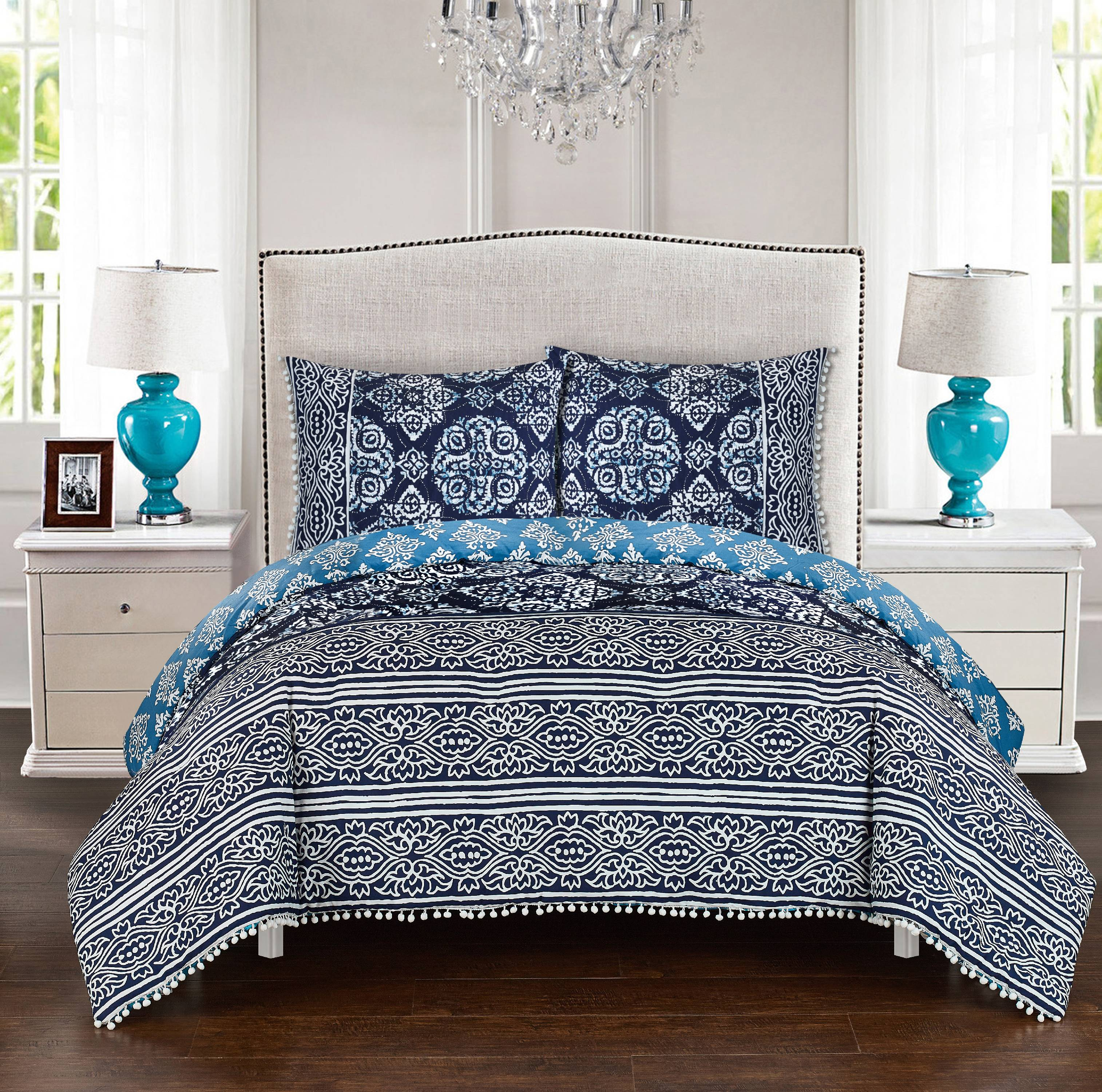 LUX-BED 2 Piece Peridot NEW!! LUX-BED COLLECTIONS!! 100% Cotton 200 Thread Count Shibori Peridot Reversible Pattern With Pom Pom Trim  Twin/Twin XL Comforter Set Navy With 1 Sham