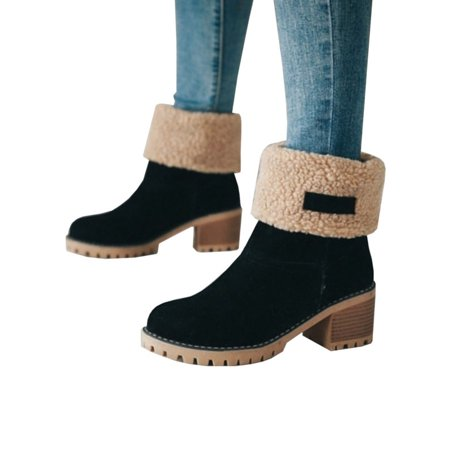 Womens Snow Booties Warm Winter Faux Fur Suede Shoes Square Heels Ankle (Skechers Womens Metronome Mod Squad Ankle Bootie)