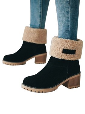 Womens Snow Booties Warm Winter Faux Fur Suede Shoes Square Heels Ankle Boots