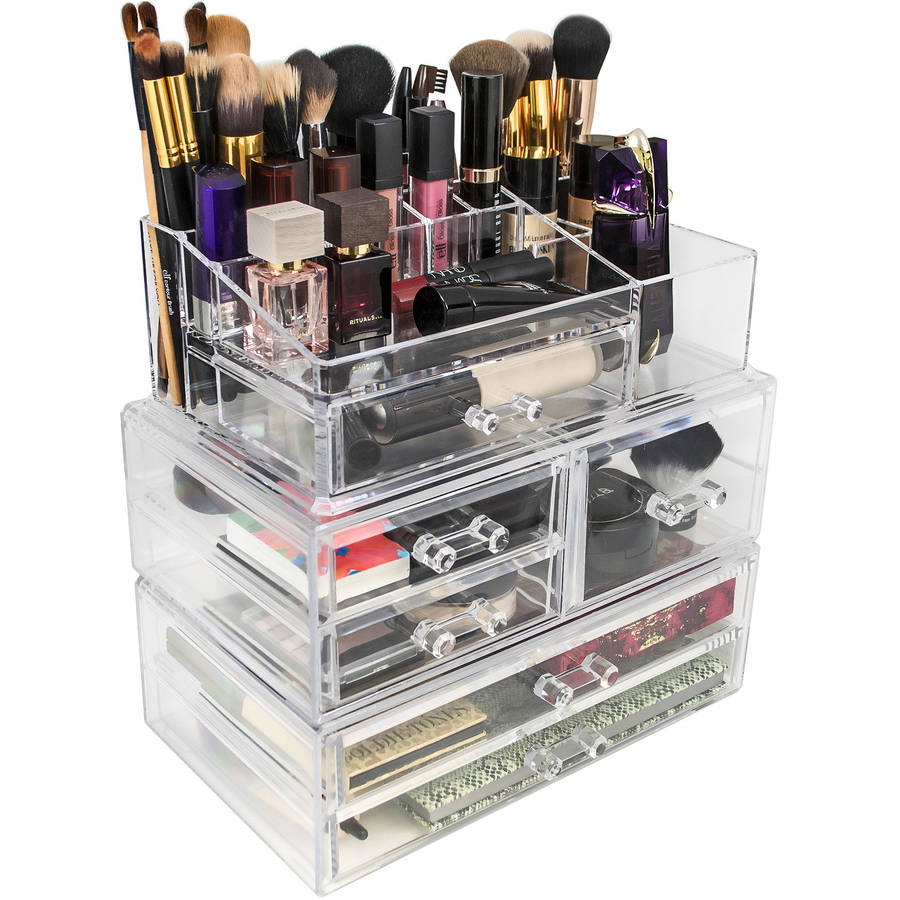 Set Of Acrylic Drawers With Sectional Organizer Large