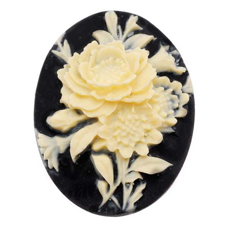 - Vintage Style Lucite Oval Cameo Black With Ivory Flowers 40x30mm (1)