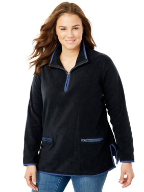 41384d2a0b3 Product Image Woman Within Plus Size Quarter-Zip Microfleece Mock Neck  Sweatshirt