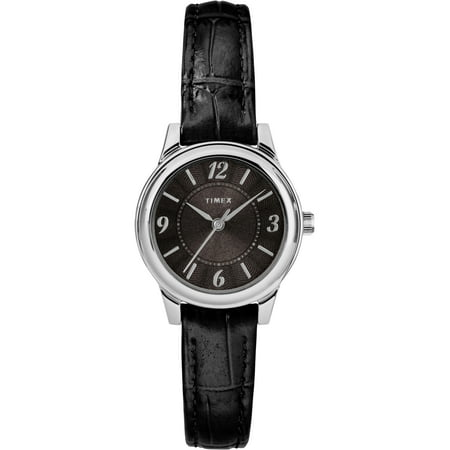 Women's Basics 26mm Silver-Tone/Black Watch, Black Croco Pattern Leather (Croc Pattern Leather)