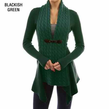 Womens Slim Fit Winter Sweater Warm Lapel Cardigan Open Front Wool Collar Casual Fashion Fleece Outwear Thicken Top Coat -