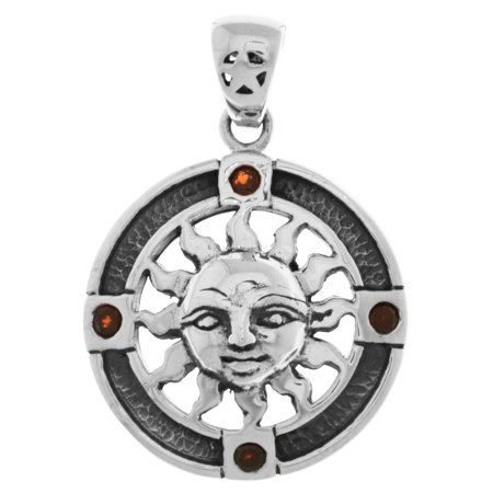 Jewelry Trends Sterling Silver Sun Pendant Medallion with (Silver Sun Pendant)
