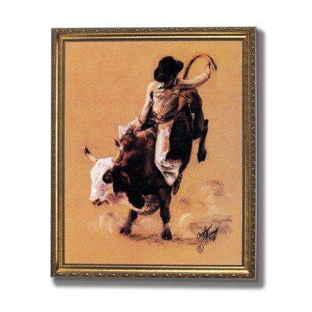 Cowboy Western Rodeo Bull Riding Wall Picture Gold Framed Art Print -  Walmart.com bb1b620f6daf