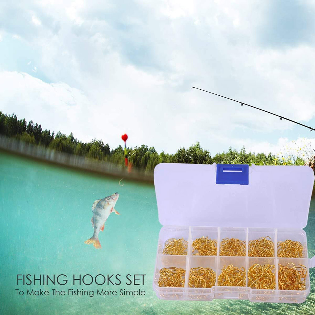 US/_ 500pcs Fish Jig Hooks with Hole Fishing Tackle Box 10 Sizes Carbon Steel w//