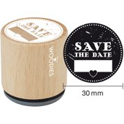 """Woodies Mounted Rubber Stamp 1.35""""-Save The Date"""