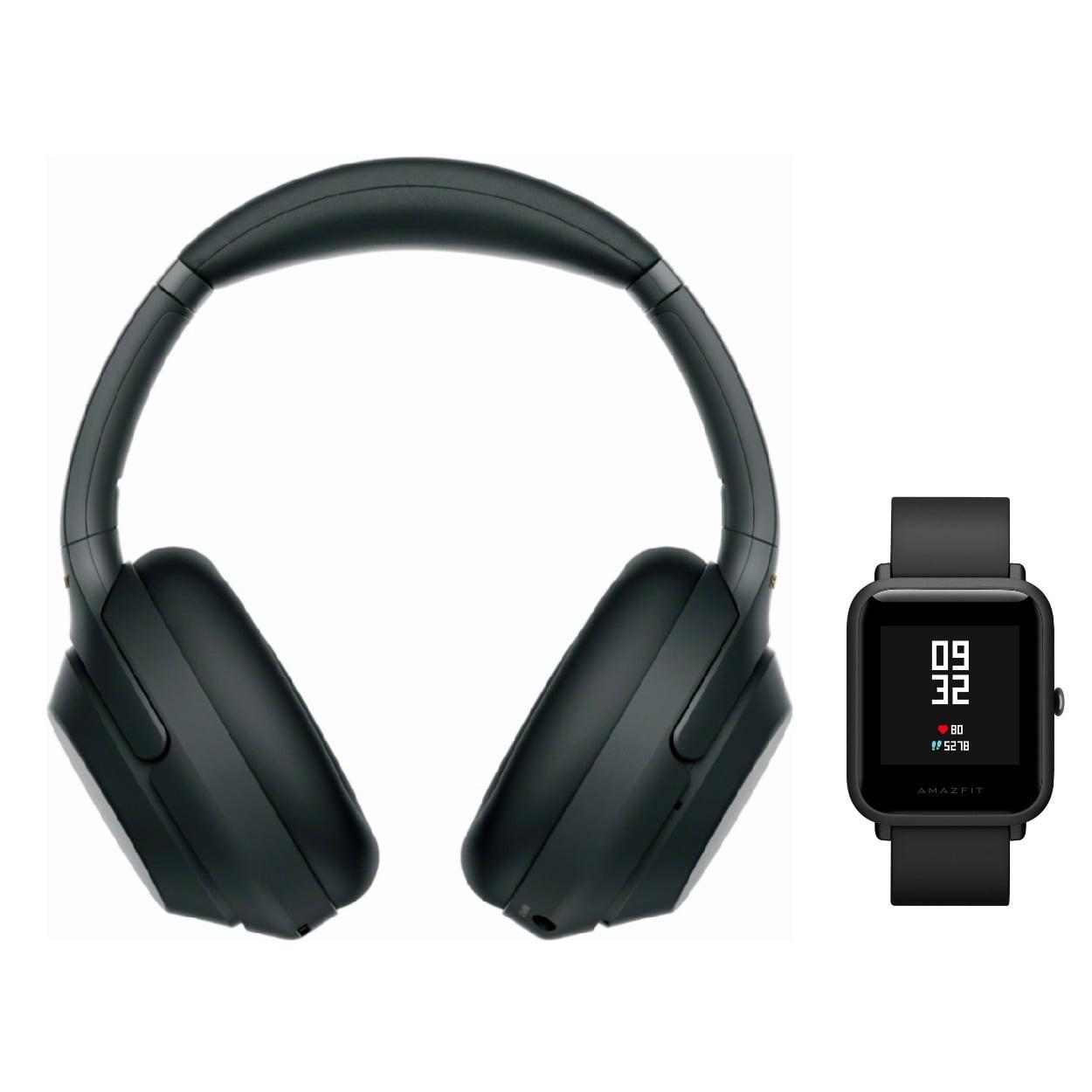 Sony WH-1000XM3 Wireless Headphones (Black) with Amazfit Bip (Onyx Black)