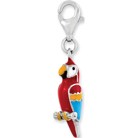 Parrot Silver Plated (Leslies Fine Jewelry Designer 925 Sterling Silver Rhodium-plated 3-D Enameled Parrot w/Lobster Clasp (7x29mm) Pendant Gift)