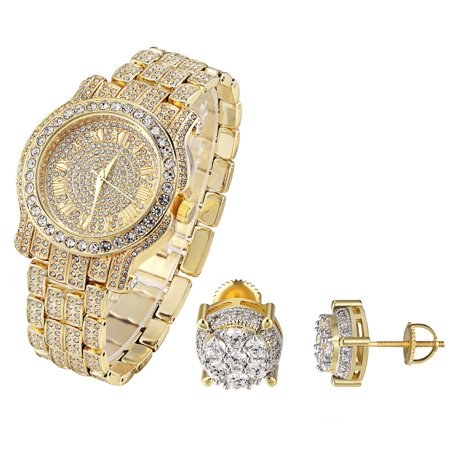 Solitaire Studs Earrings 14k Gold Finish Techno Pave Watch Bling Simulated Diamonds