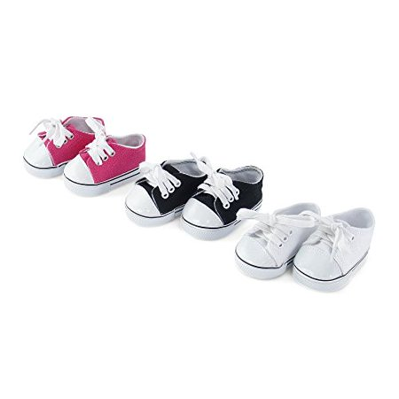 18 Inch Doll Clothes  Versatile Canvas Doll Sneakers Basics Value 3 Pack  Including Bright Pink  White And Black Tennis Shoes  Fits American Girl Dolls