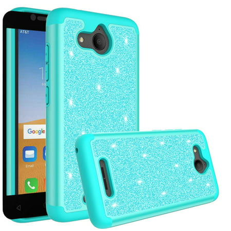 Alcatel Tetra Case Cover with Temper Glass Screen Protector Shock Proof  Silicone Cute Girls Women for Alcatel Tetra 5041C Case --Mint