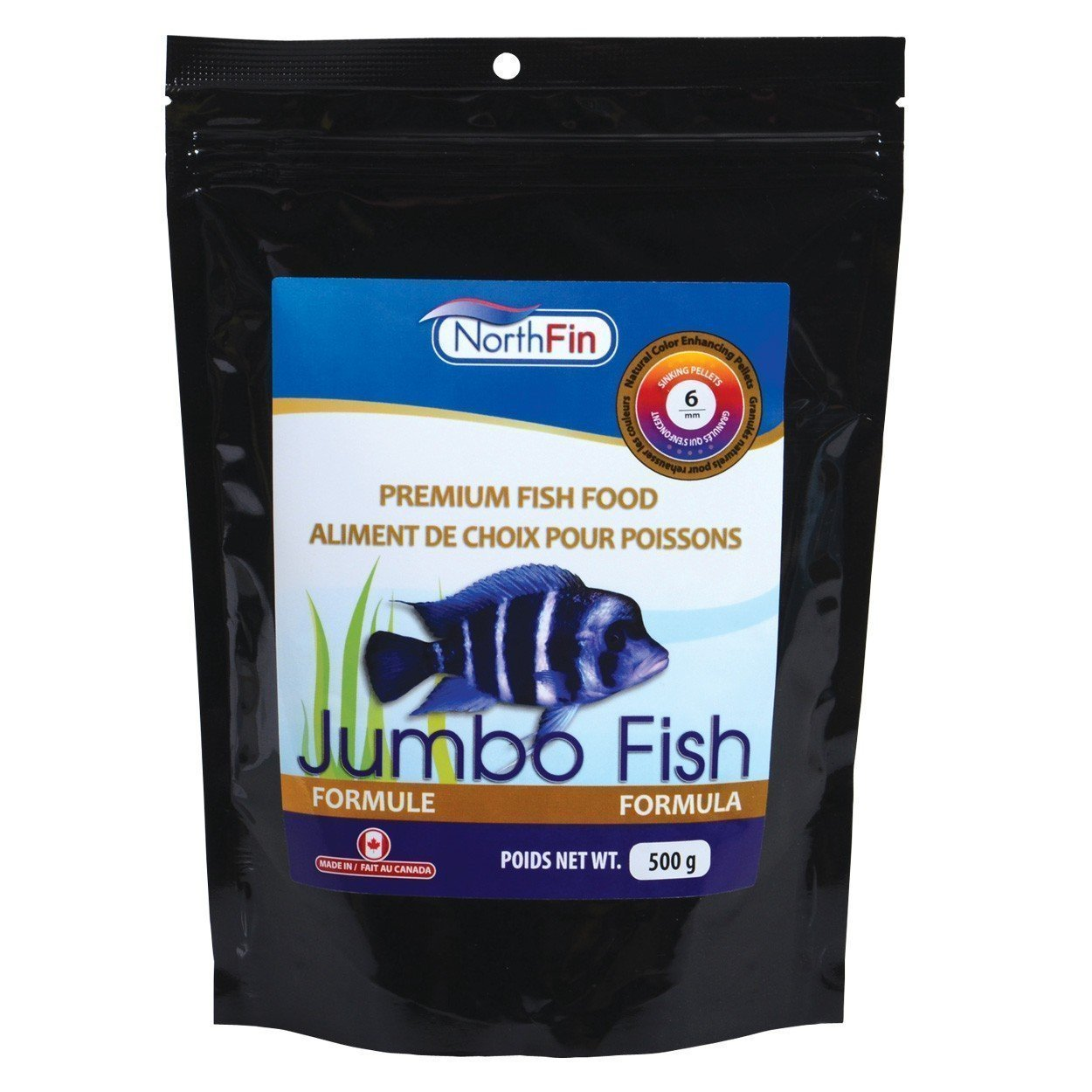 Food Jumbo Formula 6mm Pellet 500 Gram Package, Nutritious daily diet for larger freshwater carnivores and omnivores By Northfin
