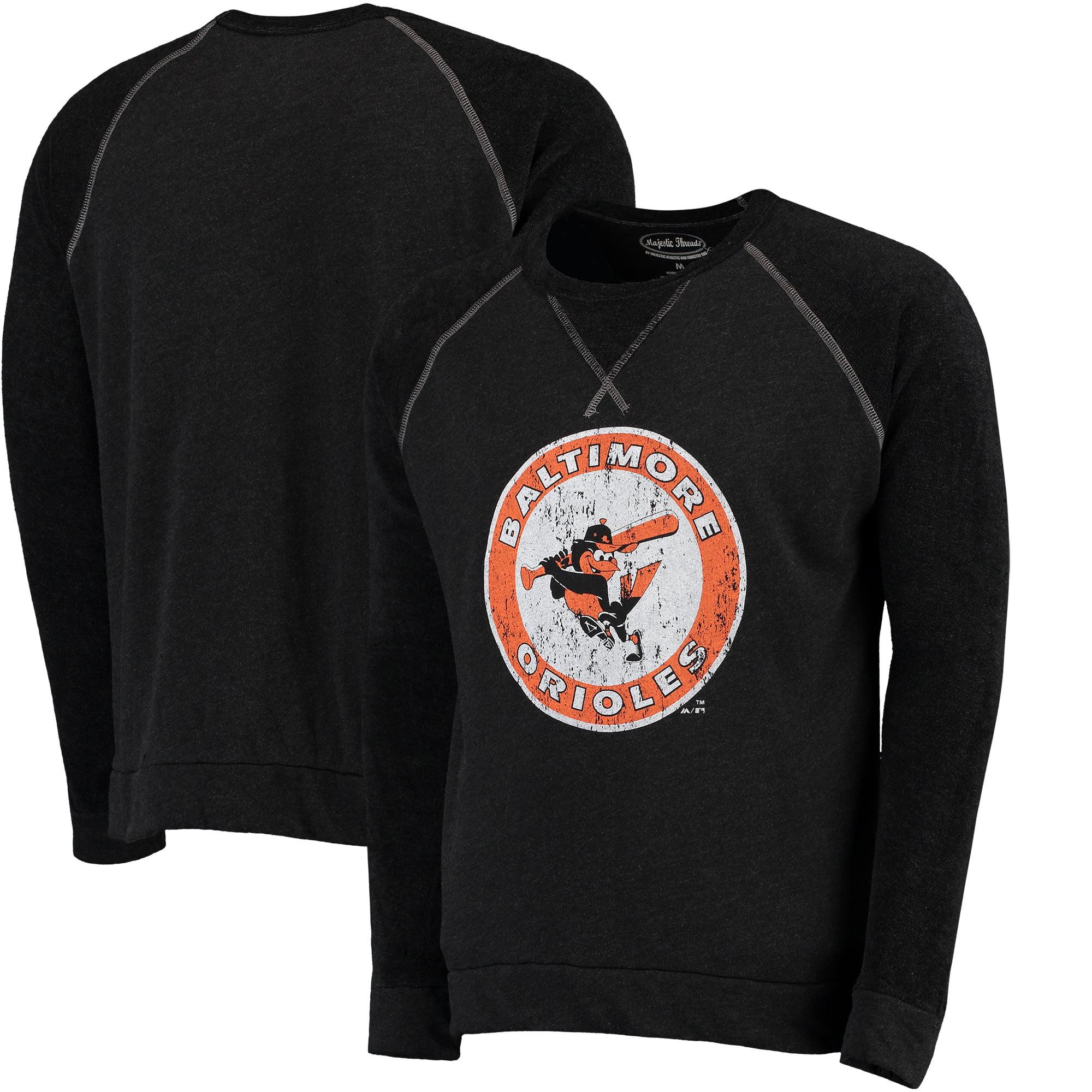 Baltimore Orioles Majestic Threads Vintage Terry Crew Raglan Sweatshirt - Black