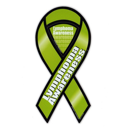 """Magnetic Bumper Sticker - Lymphoma Cancer Support Ribbon - Awareness Magnet - 3.75"""" x 8"""""""